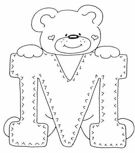 Dibujo De Letra M Dibujos Letras Para Imprimir Gratis Kleurplaten Borduren Alfabet Alfabet Kleurplaten