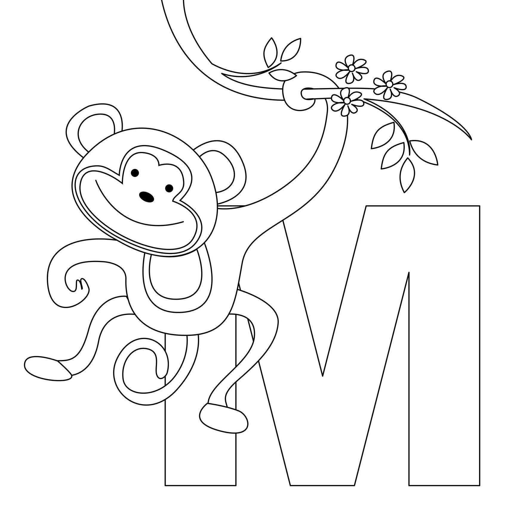 M Is For Monkey Alfabet Kleurplaten Activiteiten