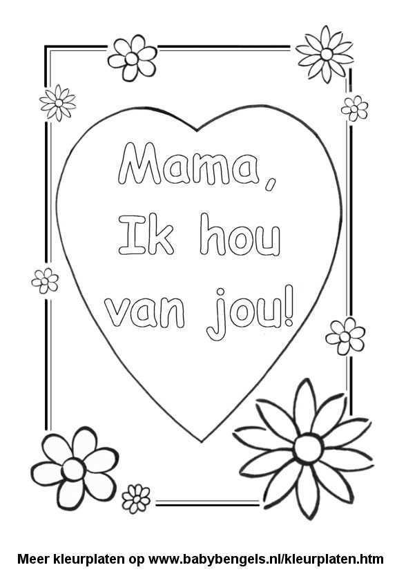 Kleurplaat Hart Valentijn Moederdag Vaderdag Knutselen Rond Moederdag Knutselen Voor