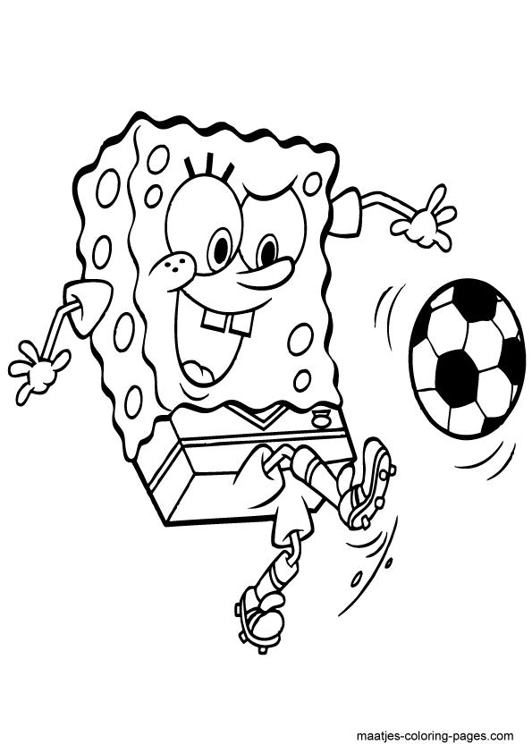 Spongebob Squarepants Playing Soccer Kleurplaten Voetbal Knutselen Knutselen Sport