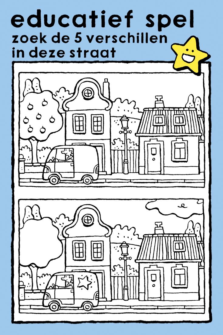 Zoek De 5 Verschillen In Deze Straat Kleurplaat Educatieve Spellen Waarnemen Auto Huizen Spot The 5 Differences In T Educatieve Spellen Thema Bouw Thema