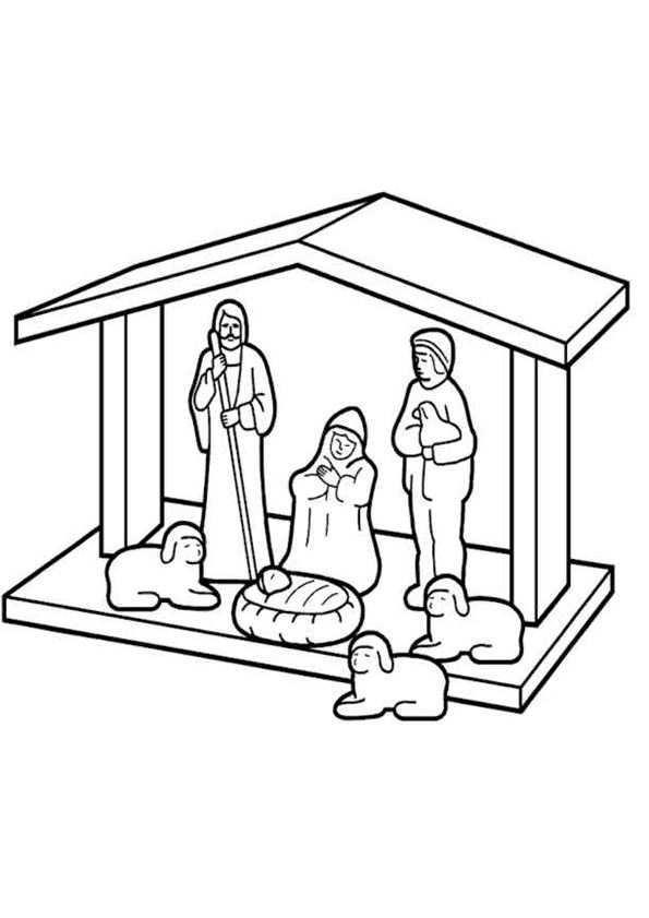 Kleurplaat Kerst Kleurplaten Kerststal Met De 3 Wijzen Uit Het Oosten Jesus En 3 Schapen 6286 Kerststal Kleurplaten Kerst