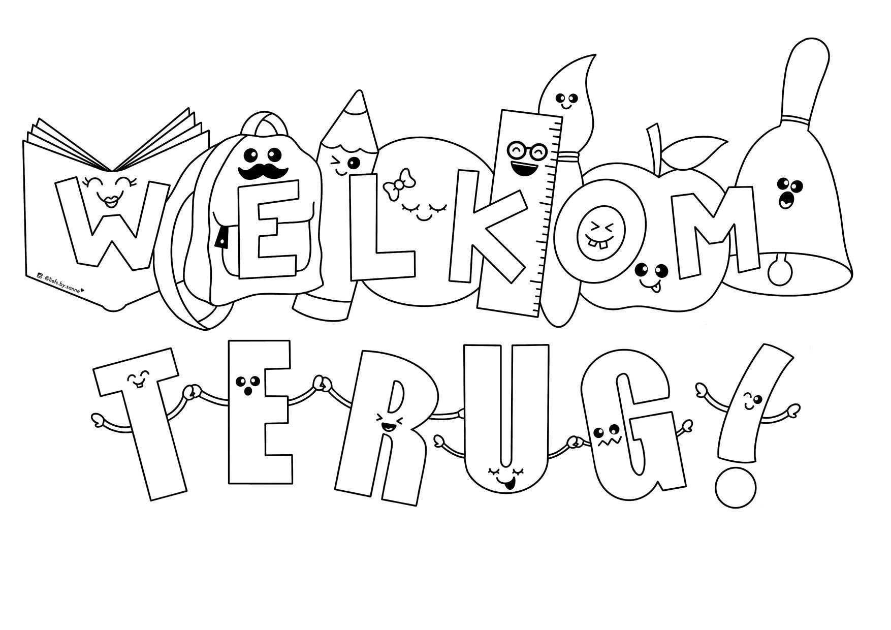 Welkom Terug Op School Back To School Thuisonderwijs Corona Kleurplaat Welkom Terug Op School School Thuisonderwijs