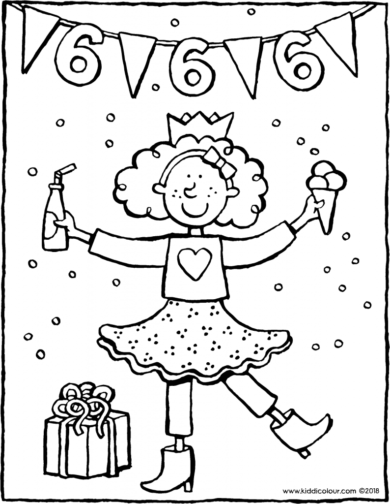 Verjaardag Meisje 6 Jaar Kleurprent Kleurplaat Tekening 01v Verjaardag Verjaardagskaart Verjaardagskalender