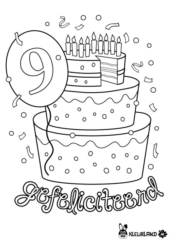 Verjaardagstaart 9 Jaar Kleurplaat Kleurland Nl Verjaardag Verjaardagsideeen Verjaardagskalender