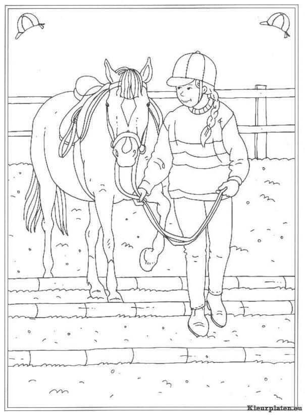 Op De Manege Kleurplaat Kleurplaten Kleurboek Paard Tekeningen