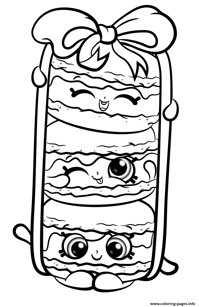 Print Stack Le Macarons From Shopkins Season 8 Coloring Pages Shopkins Colouring Page