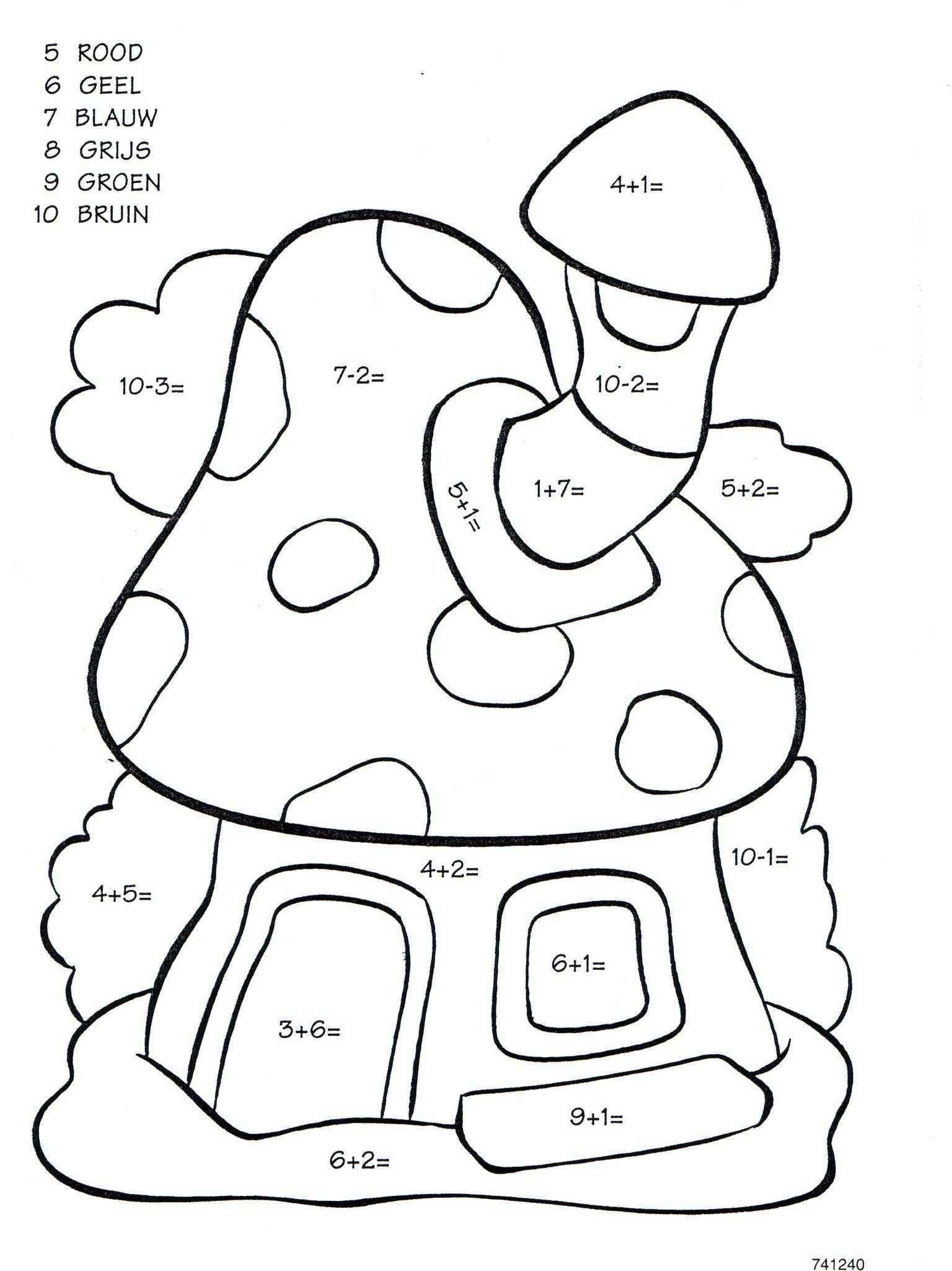 Sommen Kinderkleurplaten Kleuren Met Nummers Voor Kinderen