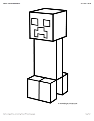 Minecraft Coloring Page With A Picture Of A Creeper To Color Minecraft Coloring Pages Minecraft Pictures Minecraft Drawings
