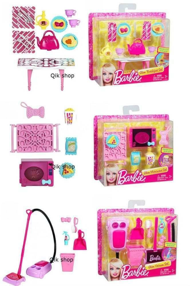 Details About Barbie Details About Barbie Home Accessories Set Microwave House Cleaning Kitchen Breakfas Barbie House Barbie Doll House Barbie Doll Set