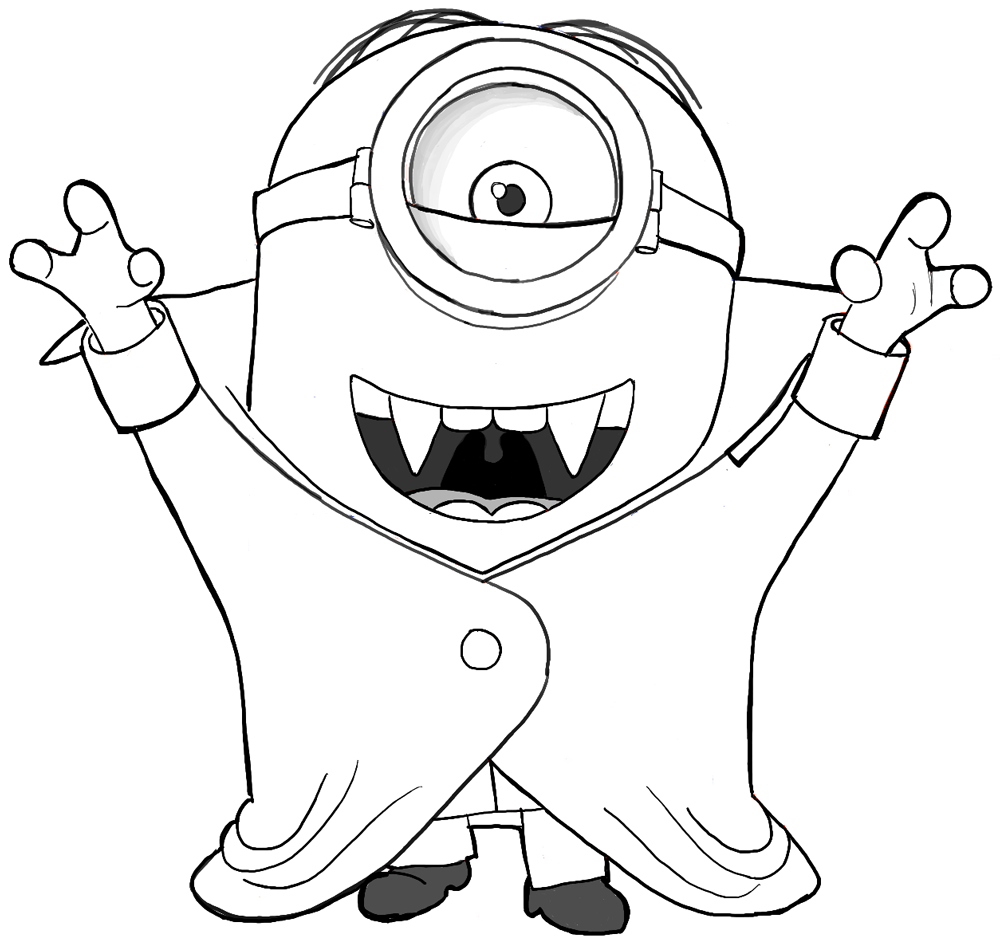 How To Draw Stuart As A Vampire From Minions Movie 2015 Drawing Tutorial How To Draw Step By Step Drawing Tutorials Minion Coloring Pages Minions Coloring Pages Halloween Coloring Pages
