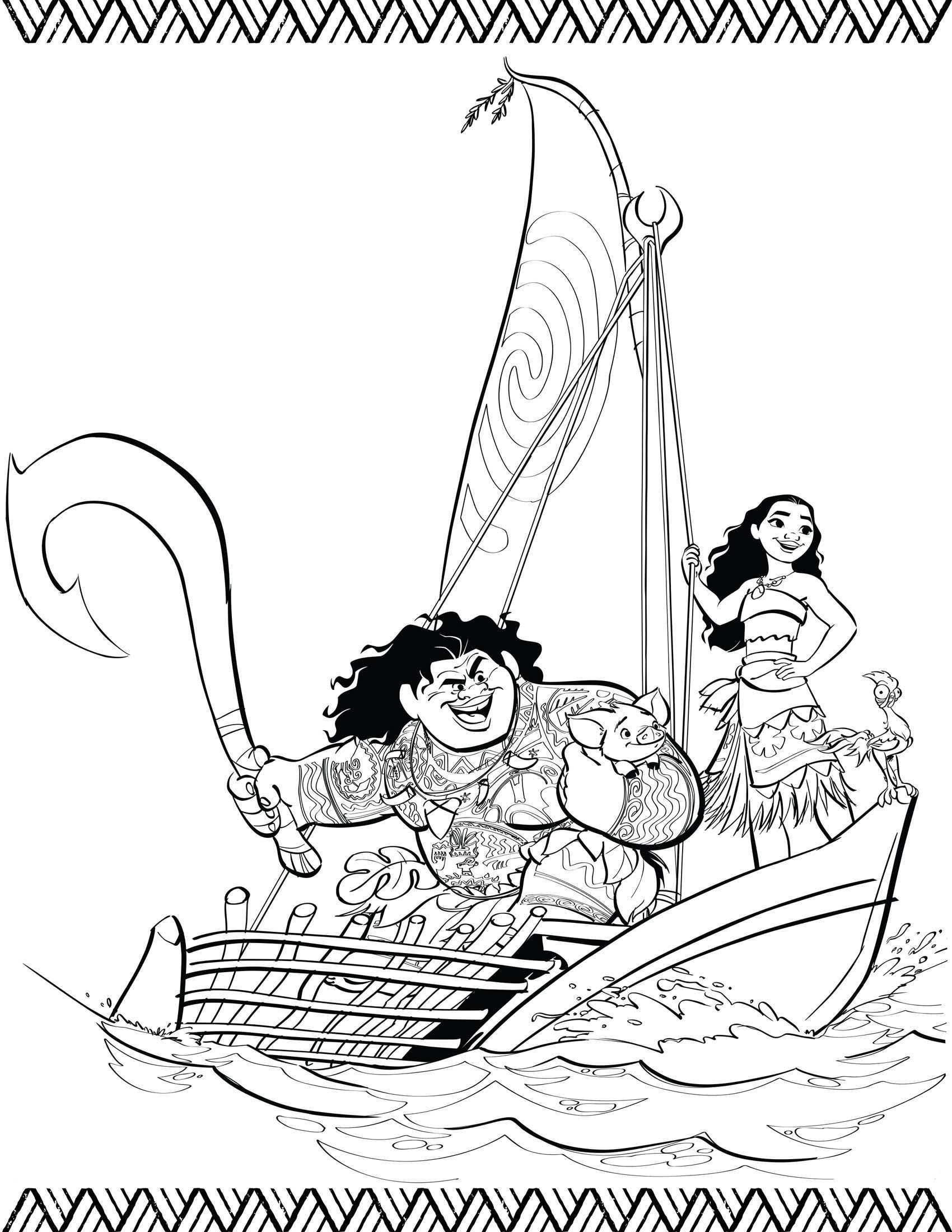 Vaiana Kleurplaat Pua Maui Vaiana In De Boot Kleurplaten Kleurboek Gratis Kleurplaten