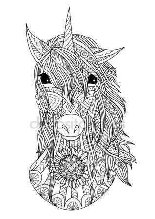 Image Result For Como Dibujar La Cabeza De Un Unicornio Paso A Paso Mandala Kleurplaten Mandala Tekeningen Zendoodle