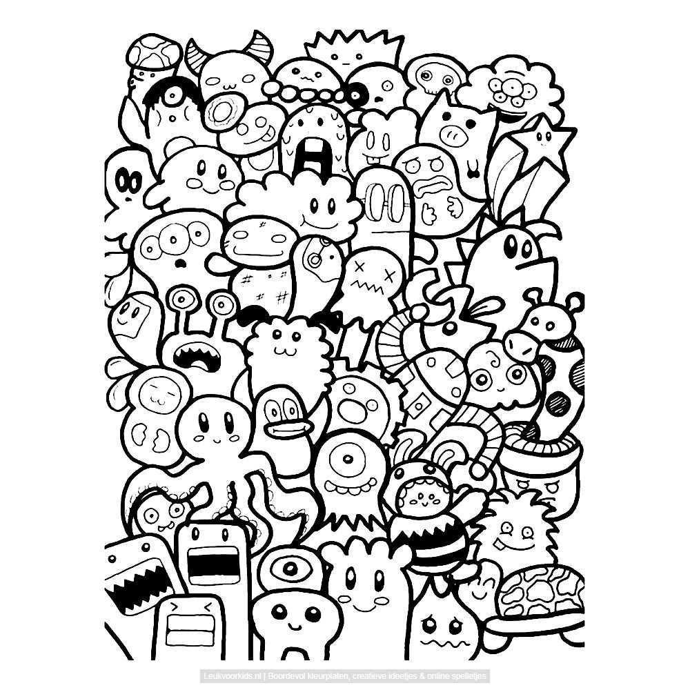 Bekijk Monsters Doodle Door Bjon Bryan Kleurplaat Monsters Leuke Doodles Doodles
