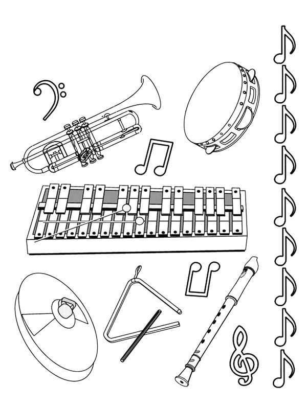 Coloring Page Musical Instruments Musical Instruments Music Coloring Kids Musical Instruments Music Coloring Sheets