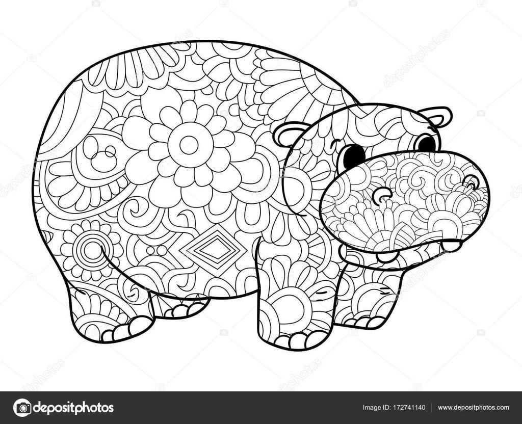 Nijlpaard Kleurplaten Vector Voor Volwassenen Dier Stockillustratie Kleurplaten Dieren Kleurplaten Kleurboek