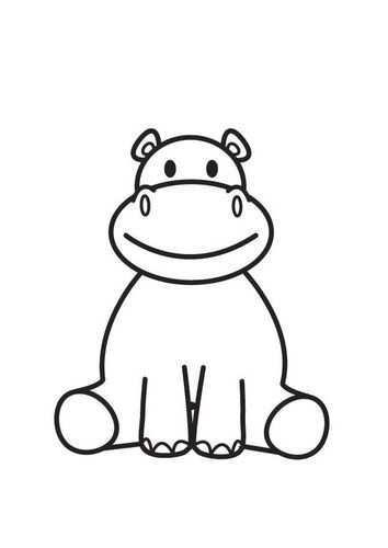 Kleurplaat Nijlpaard Afb 17997 Eenvoudige Tekeningen Nijlpaard Baby Hippo
