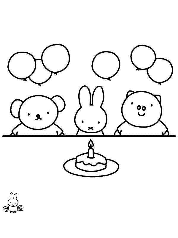 Miffy S Birthday Knutselen Nijntje Kleurplaten Voor Kinderen Kleurplaten