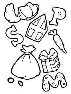 Letter Snoepjes Cadeautjes Van Sinterklaas Kleurplaat Sinterklaas Knutselen Sinterklaas Cadeautjes