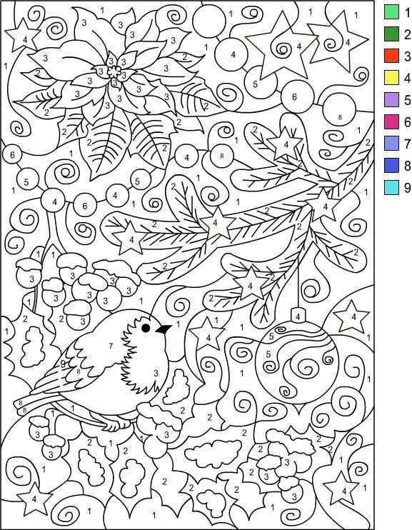 Nicole S Free Coloring Pages Color By Number Winter Coloring Page Kleuren Met Nummers Kerstmis Kleuren Kerstkleurplaten