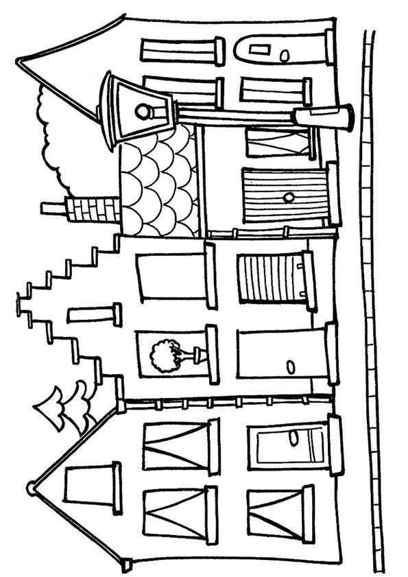 Kleurplaat Huis 7699 Kleurplaten Kleurplaten Zeefdruk Krijtstift