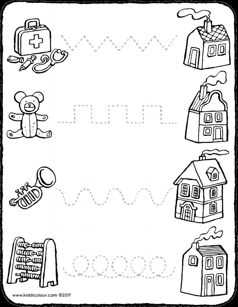 Volg De Stippellijnen Kiddikleurprenten Educatieve Spellen Peuters Kleurplaten