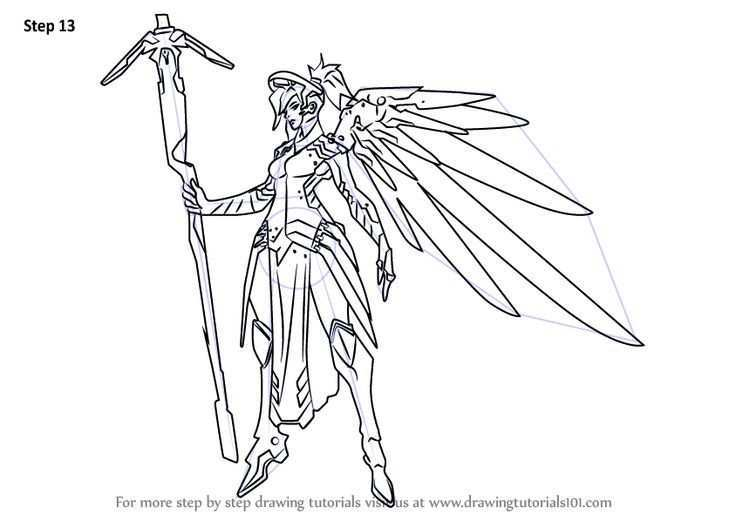 Learn How To Draw Mercy From Overwatch Overwatch Step By Step Drawing Tutori Character Design Tutorial Overwatch Drawings