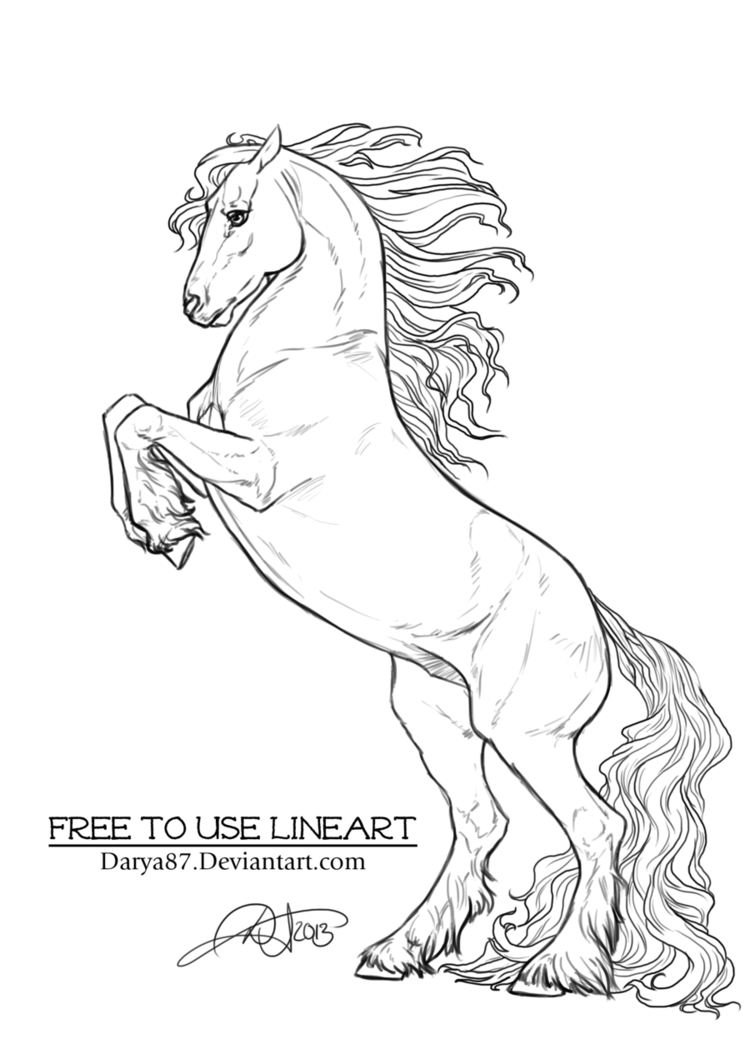 Free To Use Lineart Rearing Frisian By Darya87 On Deviantart Horse Coloring Pages Horse Coloring Horse Rearing