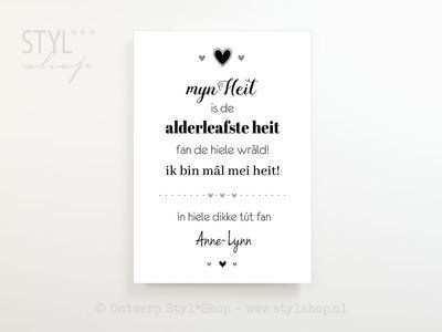 Poster A4 Frysk Fries Heit Is De Alderleafste Heit Mei Namme Tekst Ontwerp Teksten Poster