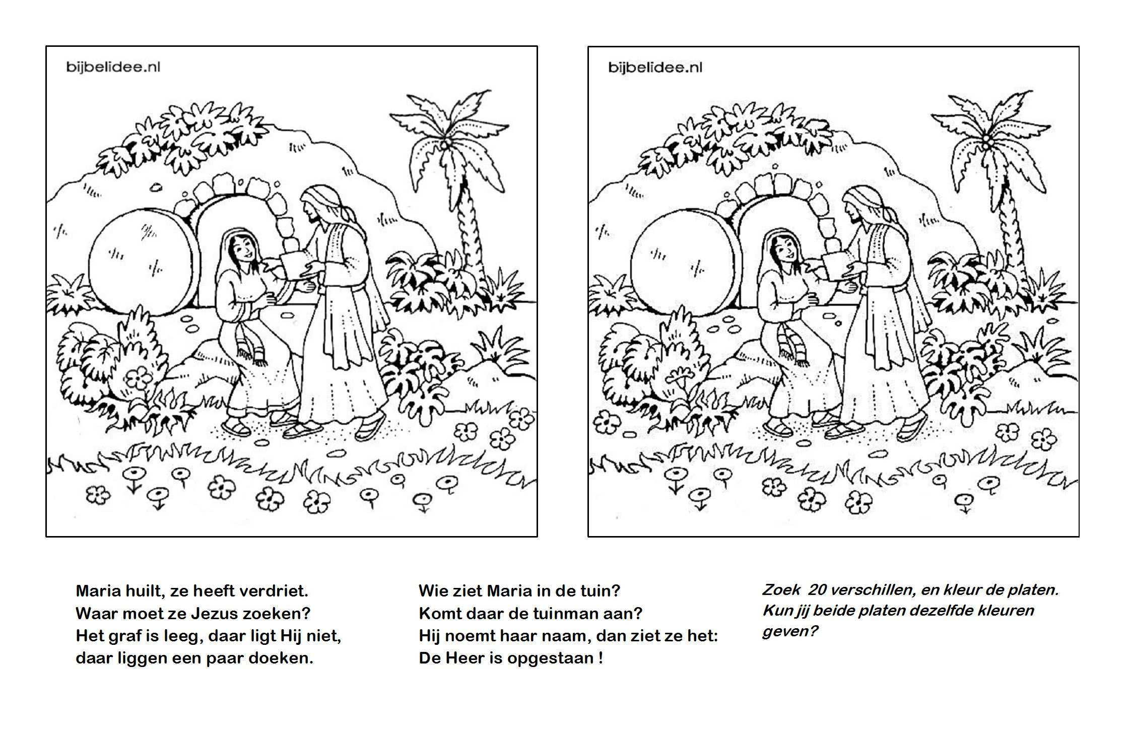 Pasen Maria Ziet Jezus In De Tuin Kleurplaten Zoek De Verschillen Www Bijbelidee Nl Zondagsschool Knutselen Pasen Bijbel Kleurplaten