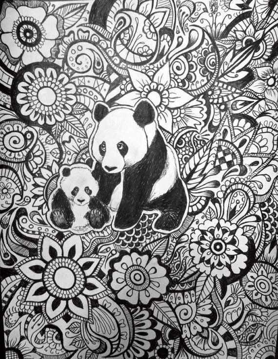 Panda Floral Design Kleurplaten Kleurplaten Voor Volwassenen Kleuren