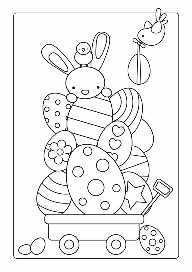 Kleurplaat Paashaas Met Eieren Knutselen Pasen Pasen Knutselen Voor Pasen