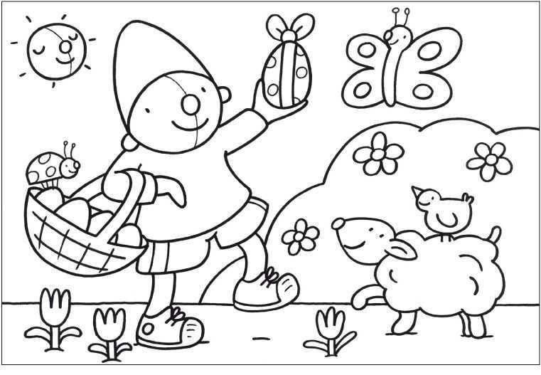 Kleurplaat Pompom Pasen Pasen Thema Knutselen Pasen