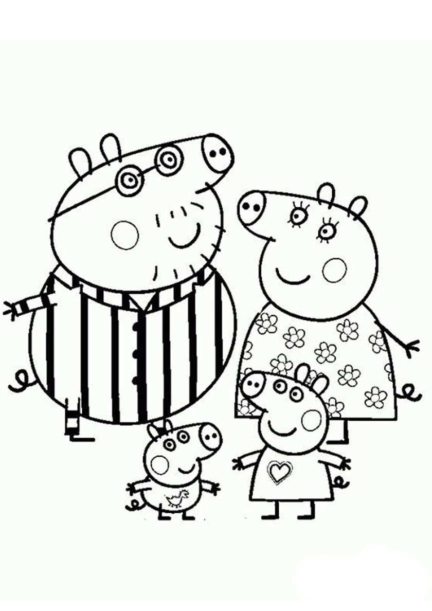 Pig Family In Pajamas High Quality Free Coloring From The Category Peppa Pig Peppa Pig Coloring Pages Peppa Pig Colouring Christmas Present Coloring Pages