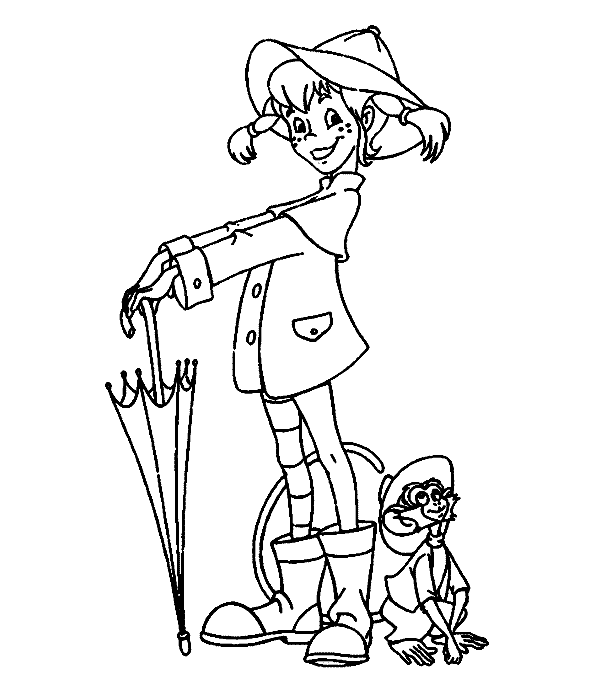 Pose Holding An Umbrella Coloring Pages For Kids Gmm Printable Pippi Longstocking Colorin Cartoon Coloring Pages Kids Coloring Books Kids Cartoon Characters