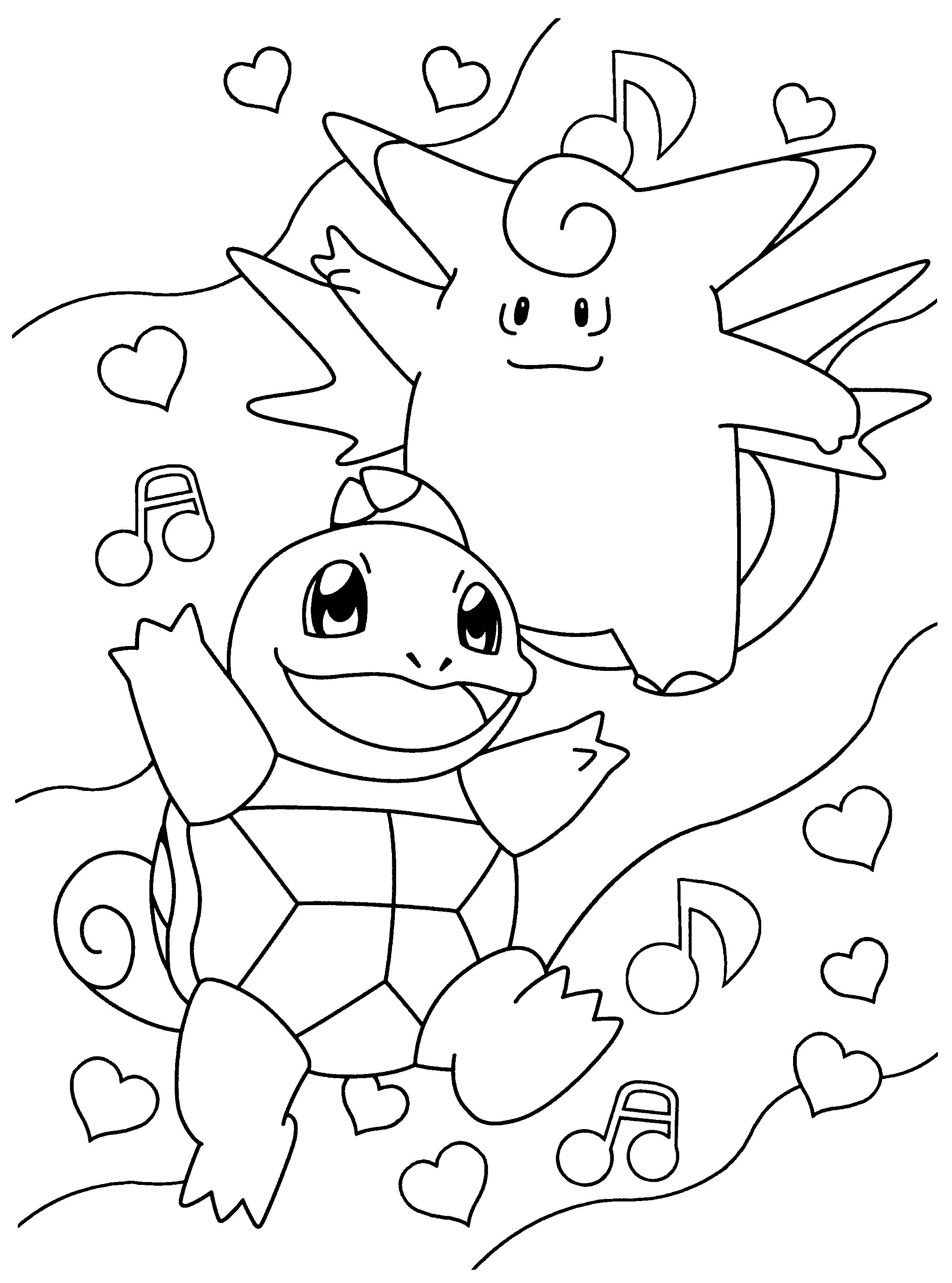 Kleurplaat Clefable En Squirtle Pokemon Coloring Pages Pokemon Coloring Valentine Coloring Pages