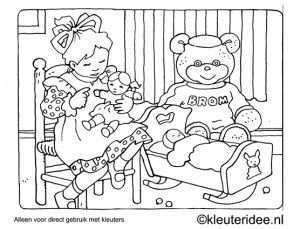 Kleurplaat Spelen Met Pop En Beer Kleuteridee Preschool Coloring Playing With Bear And Doll Color Me Color Cute