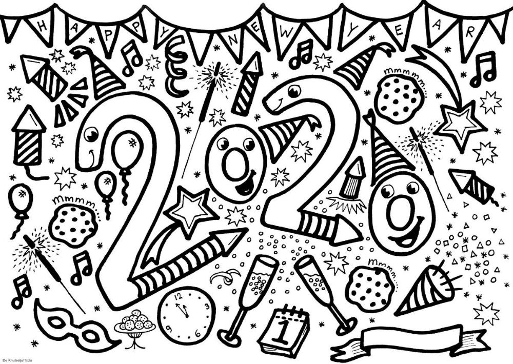 Block Poster Nieuwjaar 2020 Kleurplaat Voor 25 Personen Blockposter Nieuwjaar 2020 Jumbokleurplaat Vuurwerk Knutselen Nieuwjaar Nieuwjaarsknutsels