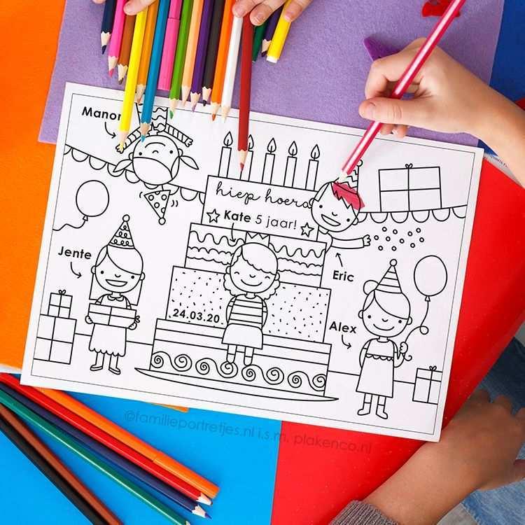 Verjaardag Taart Kleurplaat Met Portretten Kleurplaten Voor Kinderen Kinderfeestje