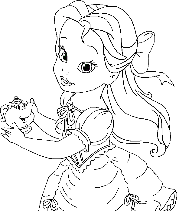 Little Belle Coloring For Kids Princess Coloring Pages Kidsdrawing Free Colori Disney Princess Coloring Pages Belle Coloring Pages Cartoon Coloring Pages