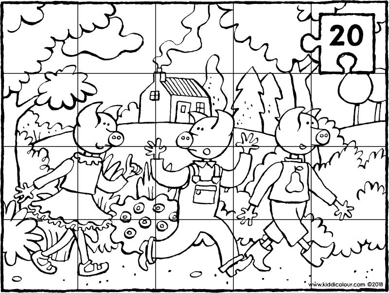 Puzzel 20 Stuks De 3 Biggetjes In Het Bos Kleurprent Kleurplaat Tekening 01k Biggetjes Drie Biggetjes Sprookjes