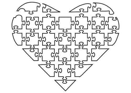 Kleurplaat Puzzel Hart Afb 21144 Puzzel Puzzelstukjes Vriendschapsactiviteiten