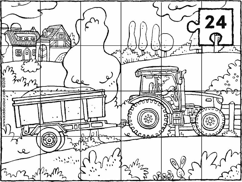 Tractor Met Kar Puzzel 24 Stukken Kleurplaat Kleurprent Tekening 01k Kleurplaten Voor Kinderen Kleurplaten Tractor