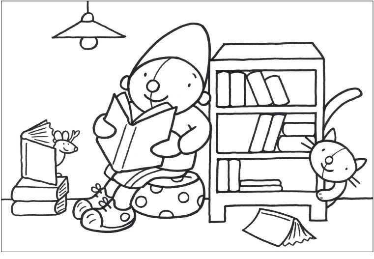 Kleurplaat Pompom Boeken Thema Boeken Lezen