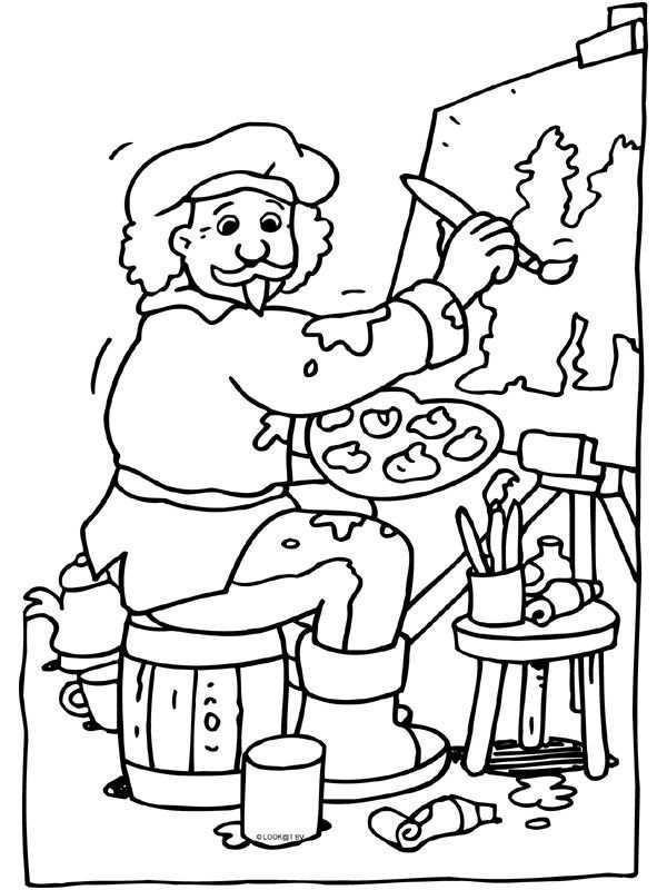 Rembrandt Van Rijn Kleurplaat Rembrandt Kleurrijke Kunst Kleurplaten