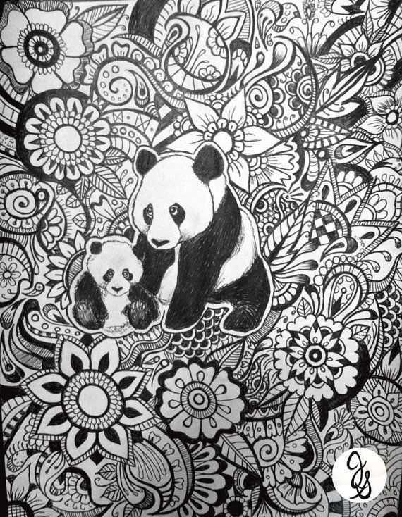 Panda Floral Design Mandala Coloring Pages Mandala Coloring Panda Coloring Pages