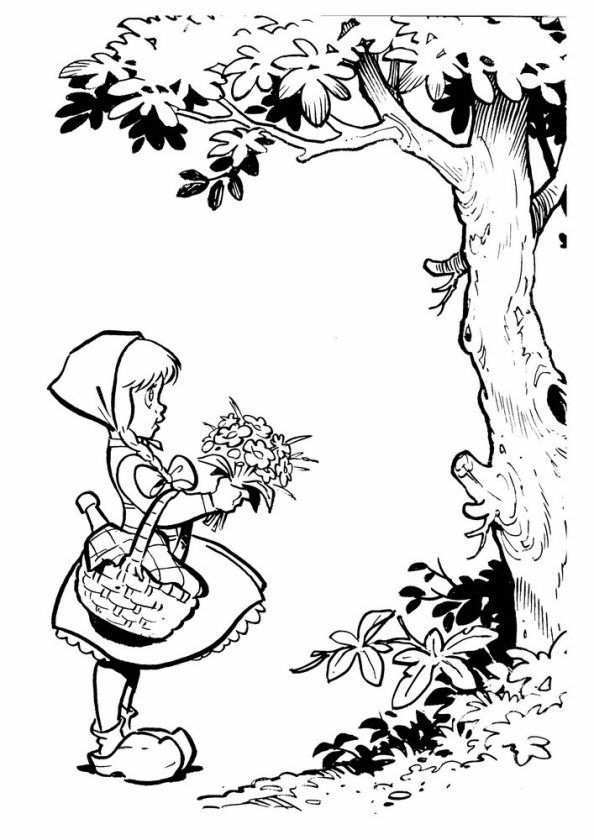 Print Roodkapje Kleurplaat Sprookjesboom Sprookjes Roodkapje