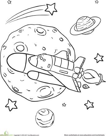 Rad Rocket Ship Worksheet Education Com Ruimte Thema Kleurplaten Planeten