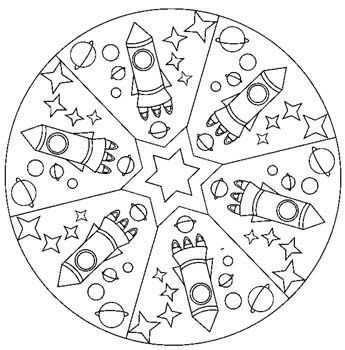 Mandala Fusee Mandala Mandalas Coloriage De Ruimte Knutselen Ruimte Thema Ruimte