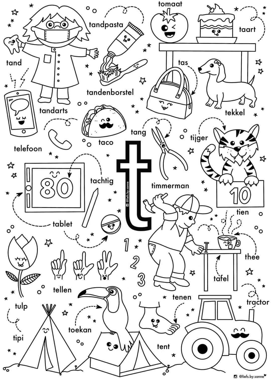 T Woorden Kleurplaat Letterherkenning Spelletjes Alfabet Boek Alfabet Kleurplaten